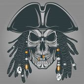 stock photo of skull cross bones  - Vector illustration of an evil pirate skull in hat - JPG