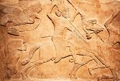 picture of carving  - Ancient sumerian stone carving with cuneiform scripting - JPG