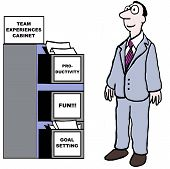 picture of goal setting  - Cartoon of team member looking at Team Experiences filing cabinet - JPG