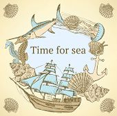 pic of galleon  - Sketch sea life in vintage style vector - JPG