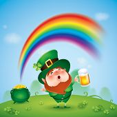 foto of pot gold  - Leprechaun with pot of gold at the end of rainbow - JPG