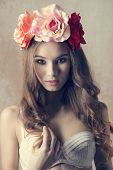 image of charming  - Spring beautiful charming woman in white bra and flowers on her head she has got long curly hair and natural make up - JPG