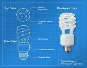 stock photo of fluorescent light  - Technical drawing of a small compact fluorescent light bulb - JPG