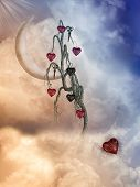 picture of fantasy landscape  - Fantasy Landscape with tree and big moon - JPG