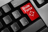 stock photo of hairline  - dark grey keyboard red button brute force - JPG