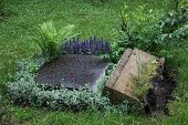 picture of tombstone  - Dropped tombstone on the old cemetary in Greifswald Mecklenburg - JPG