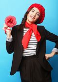 stock photo of french beret  - Beautiful girl in a red beret - JPG
