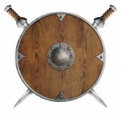 picture of crossed swords  - old wooden round shield and two crossed swords isolated - JPG
