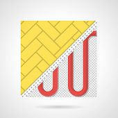 pic of floor heating  - Flat color vector icon for red pipeline heated floor under yellow parquet on gray  background - JPG