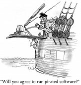 stock photo of pirate  - Cartoon of pirate walking computer down the plank and saying - JPG