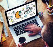 foto of marketing plan  - Strategy Development Goal Marketing Vision Planning Man Concept - JPG