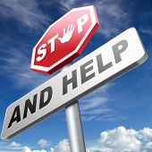 stock photo of helping others  - stop and help give a helping hand solidarity and give charity - JPG