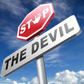 stock photo of sinful  - stop the devil no evil or sinning - JPG