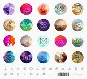 stock photo of polygon  - Abstract Geometric Patterns Set with Hipster Style Icons for Logo Design - JPG