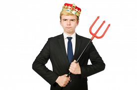 stock photo of trident  - Funny businessman with trident pitchfork isolated on white - JPG
