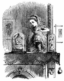 pic of alice wonderland  - Engraving of Alice pushing through the mirror from book by Lewis Caroll  - JPG