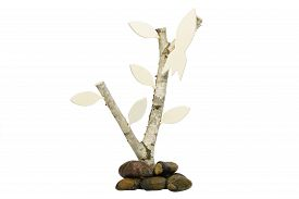 picture of birchwood  - Birchwood with leafs and small rocket as signpost or handicap direction up or as a symbol of upward - JPG