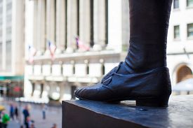 picture of nyse  - Wall Street with New York Stock Exchange in Manhattan Finance district - JPG