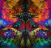 pic of emerald  - fairy emerald green phoenix bird colorful ornamental fantasy painting collage - JPG