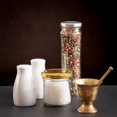 foto of pepper  - Concept of salt and pepper accessories - JPG