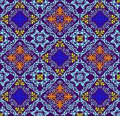 stock photo of fluorescence  - Fusion of old vintage damask ornament with fluorescent colors - JPG