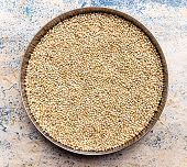 foto of sorghum  - closeup of Sorghum seeds or white millet or whole jowar kernels kept in vessel on blurred background - JPG