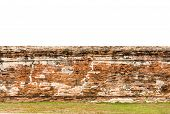 stock photo of old stone fence  - background and texture decorative old fence red brick wall surface - JPG