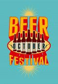 image of drawing beer  - Beer Festival vintage style poster with a beer bottles - JPG