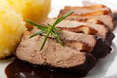 image of roast duck  - closeup of slices of roasted duck with dumpling - JPG
