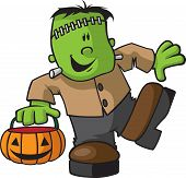 stock photo of frankenstein  - A happy Cartoon Juvenile Frankenstein with Pumpkin - JPG