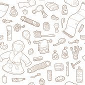picture of personal hygiene  - Seamless pattern of vector cartoon bathroom elements and personal hygiene items - JPG