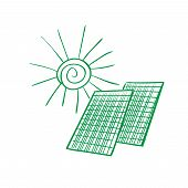 picture of solar battery  - Solar panel energy scheme as doodles sketch how to convert or transform solar energy for the consumer - JPG