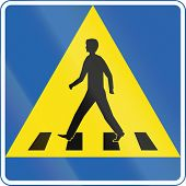 image of pedestrian crossing  - Road sign in Iceland  - JPG