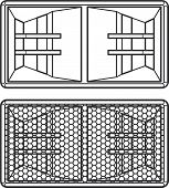 stock photo of subwoofer  - vector dark grey outline horn system double subwoofer speakers with protection grid illustration - JPG