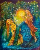 picture of hare  - Golden fairy and a magic hare piper under an emerald tree - JPG