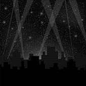 image of starry  - Houses Silhouettes on Night Starry Sky - JPG