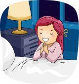 image of beside  - Illustration of a Little Girl Praying Beside Her Bed - JPG