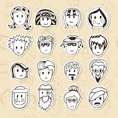 pic of avatar  - Hand drawn different funny faces - JPG