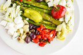image of antipasto  - Appetizers plate with vegetarian antipasto in Italian restaurant - JPG