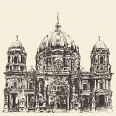 image of dom  - Berlin Cathedral Berliner Dom Germany Hand drawn illustration Engraved style - JPG