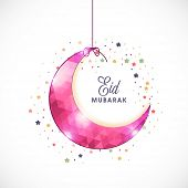 picture of eid al adha  - Glossy pink hanging crescent moon on colorful flowers decorated background for Muslim community festival - JPG