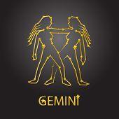 image of gemini  - Stars Gemini zodiac signs and background universe - JPG