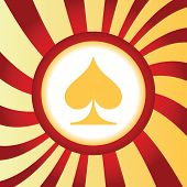 foto of spade  - Yellow icon with image of spades card symbol - JPG