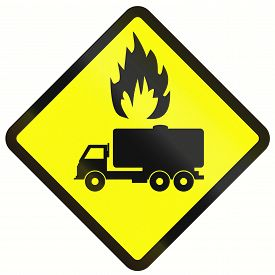 picture of tank truck  - Indonesian warning road sign  - JPG