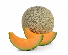 pic of honeydew melon  - cantaloupe melon isolated on a white background - JPG