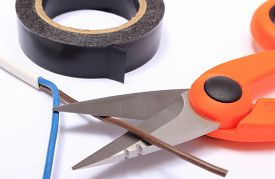 image of wire cutter  - Cable cutter electric wire and black insulating tape on white background accessories for engineer jobs and repair of electrical cable - JPG