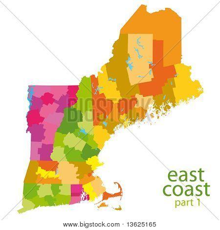 usa east coast map