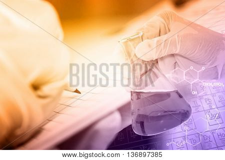 Постер, плакат: Scientist With Equipment And Science Experiments laboratory Glassware Containing Chemical Liquid S, холст на подрамнике