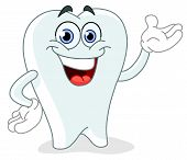 stock photo of smiley face  - Vector cartoon tooth presenting with his hand - JPG