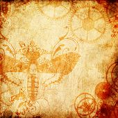 image of edwardian  - A steampunk digital scrapbook page in rustic tones with an insect impression - JPG